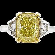 Estate GIA 4.0ct Natural Fancy Yellow CUSHION 3 Stone Diamond Engagement Platinum 18K YG Ring