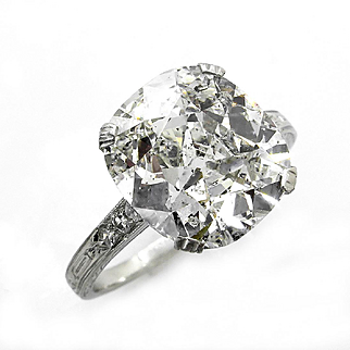 GIA 4.16ct Art Deco Old Mine Cushion Diamond Solitaire Engagement Wedding Platinum Vintage Ring