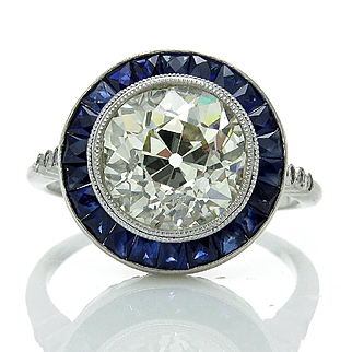 Art Deco 4.22ct Vintage Old European Cut Diamond Solitaire Sapphires Halo Engagement Platinum Ring