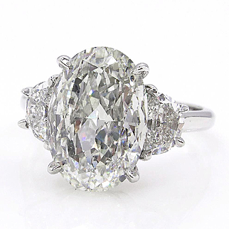Stunning GIA 4.27ct Vintage OVAL Diamond Three Stone Engagement Wedding Platinum Ring