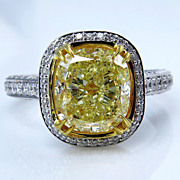 GIA 4.32ctw Estate Vintage Natural Fancy Yellow CUSHION Diamond Solitaire Engagement , Anniversary 18k Ring