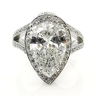 GIA 4.61ct Vintage PEAR Shaped Diamond Engagement Wedding Pave Halo Platinum Ring