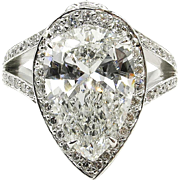 GIA 4.61ct Vintage PEAR Shaped Diamond Engagement Wedding Pave Halo Platinum Ring