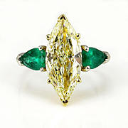"Estate ""Canary"" 4.63ctw Natural Fancy YELLOW Marquise Diamond and Green Emerald Trilogy Pl/18k Ring"