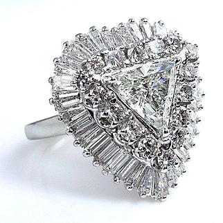 "GIA 5.03ctw Trillion Diamond in a Breathtaking Circa 1960s Estate ""BALLERINA"" Platinum Ring Pendant"