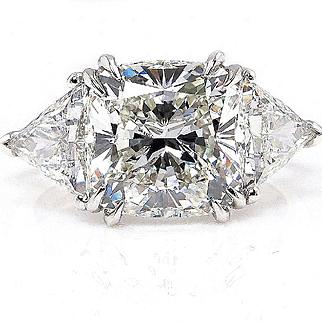 Huge 5.38ct Estate Vintage CUSHION Cut Diamond 3 stone ENGAGEMENT Wedding Platinum Ring