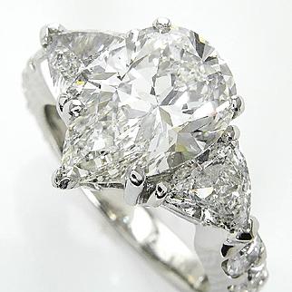 GIA 5.45ct Estate Vintage PEAR Shaped Diamond Engagement Platinum Ring