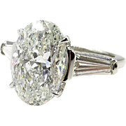 HUGE GIA Estate Vintage 5.53ct Classic OVAL Cut Diamond Engagement Platinum Ring with Baguettes