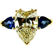 "Estate ""Canary"" 5.67ctw Natural Fancy YELLOW Pear Shaped Diamond and Sapphire Trilogy 18k Gold Ring"