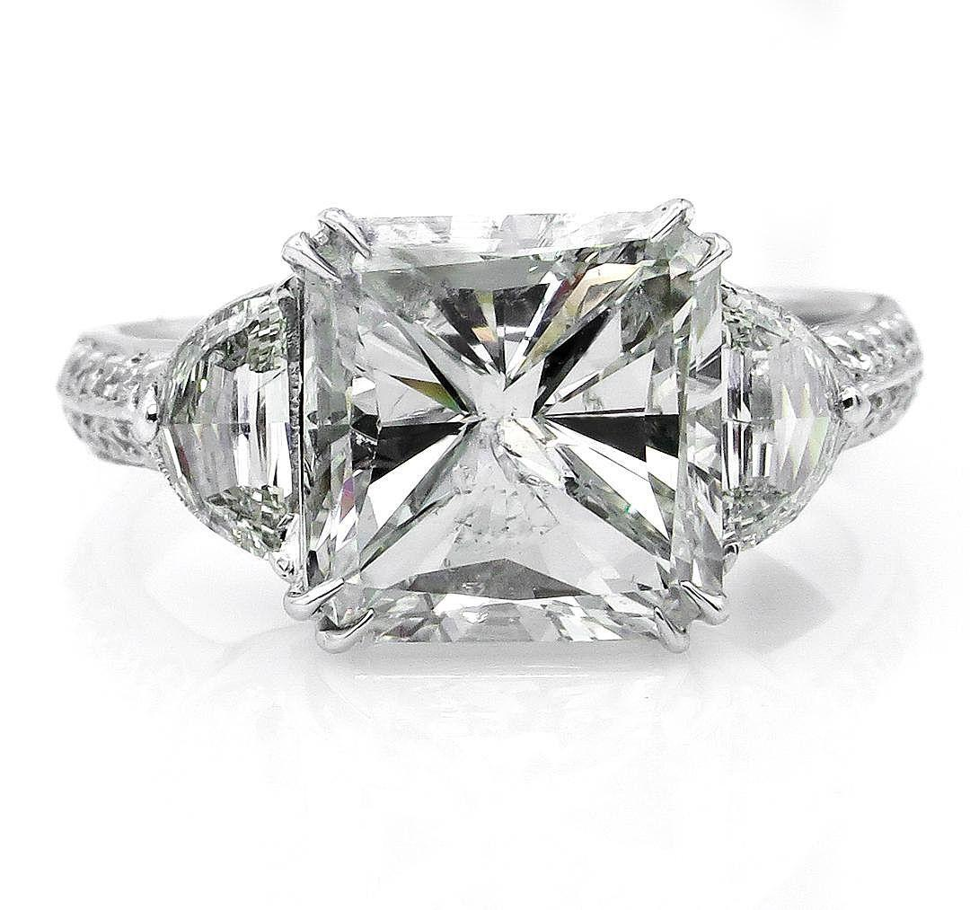 Estate Vintage 5.72ct RADIANT 3 Stone Diamond Engagement Anniversary 18K Ring