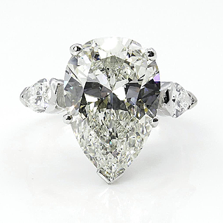 GIA Near Flawless 6.01ct Estate Vintage PEAR Shaped3 Stone Diamond Engagement Wedding Platinum Ring