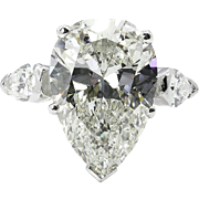 GIA Near Flawless 6.01ct Estate Vintage PEAR Shaped3 Stone Diamond Engagement Wedding Platinum Ring