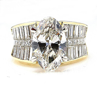 Near FLAWLESS 6.02ct GIA Wide OVAL Diamond Engagement Wedding Band Ring in 18k Yellow Gold