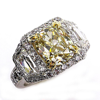 "Estate GIA ""Canary"" 6.15ctw Natural Fancy YELLOW Cushion Cut Diamond Halo Pave Platinum Wedding Ring"