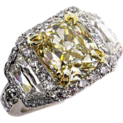 "GIA ""Canary"" 6.15ctw Natural Fancy YELLOW Cushion Cut Diamond Halo Platinum Ring"