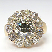 Spectacular Antique 6.16CT Authentic Victorian Vintage Cocktail Cluster Wedding Engagement Anniversary Ring 18K Rose and Yellow Gold