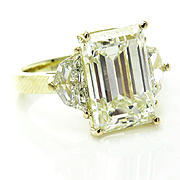 Impressive 6.28ct Vintage Emerald DIAMOND Engagement Wedding Three-Stone 18k Gold Ring