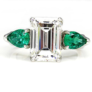 GIA HUGE 6.42ct Emerald Cut Diamond and Green Emeralds Engagement Wedding Platinum Ring
