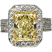 """Estate """"Canary"""" 6.75ctw Natural Fancy YELLOW Radiant Cut Diamond Halo Pave Platinum Ring"""
