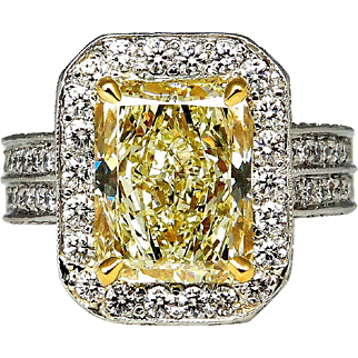 "Estate ""Canary"" 6.75ctw Natural Fancy YELLOW Radiant Cut Diamond Halo Pave Platinum Ring"
