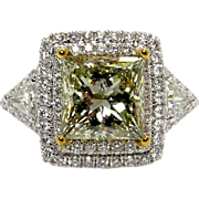 Spectacular GIA 6.81ctw Estate Fancy GREEN YELLOW Princess Cut Diamond Engagement , Anniversary or Wedding Ring