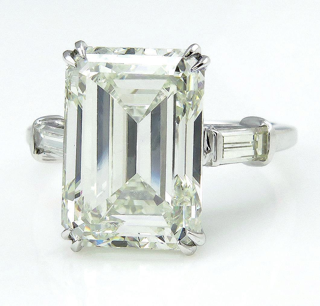 HUGE 6 87ct Emerald Cut Three Stone Diamond Engagement Wedding from treasurly