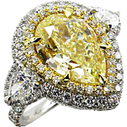 Spectacular GIA 7.13ctw Estate Fancy YELLOW PEAR Shaped Diamond Engagement Platinum 18K Ring