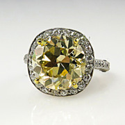 7.24ct Estate Vintage FANCY YELLOW Round Diamond Engagement Wedding Ring Platinum, EGL