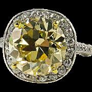 7.24ct Estate Vintage FANCY YELLOW Round Diamond Engagement Wedding Ring Platinum, EGL