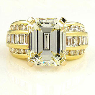 Vintage 7.28ct GIA Wide Emerald Diamond Engagement Wedding Band Ring in 18k Yellow Gold