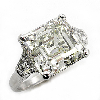 Huge Art Deco 7.59ct Asscher, Square Emerald Cut Diamond 3 Stone Engagement Wedding Platinum Ring
