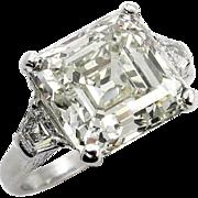 Huge Art Deco 7.59ct Asscher, Square Emerald Cut Diamond 3 Stone Engagement Wedding Platinum Ring