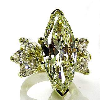 Huge 8.50ct Vintage Natural Yellow Marquise DIAMOND Engagement Wedding Gold Ring