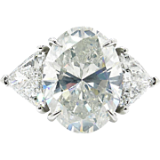 GIA Estate Vintage 9.20Ct OVAL Diamond ENGAGEMENT 3 Stone Ring with Trillions Platinum