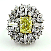 "GIA 9.26ct Estate Fancy YELLOW CUSHION Diamond ""Ballerina"" Cocktail Ring"