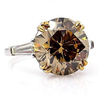"Huge GIA 9.77ctw Natural Fancy Brown ""Cognac"" ROUND Cut Diamond Three Stone Platinum Ring"