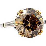 "Huge GIA 9.77ctw Natural Fancy Brown ""Cognac"" ROUND Cut Diamond Three Stone Platinum Ring"