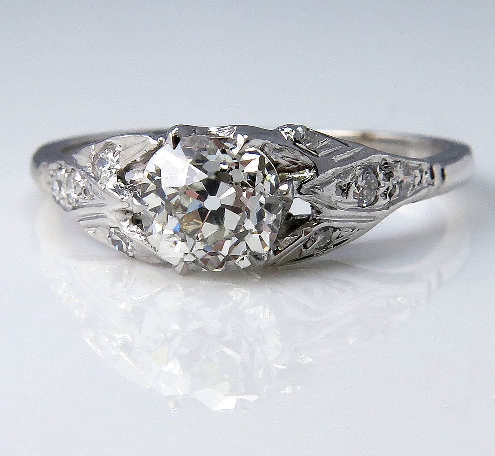 Antique Edwardian / Art Deco GIA 1.0ctw Old Mine Cushion Solitaire Diamond Wedding ENGAGEMENT Ring