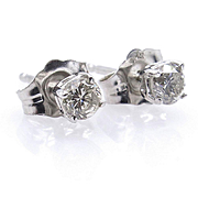 Classic 1/3CT Diamond Stud-Earrings 4 prongs 14k white gold Push Back