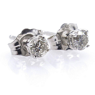 Classic 1/3CT Diamond Stud-Earrings 4 prongs 14k white gold Push Back