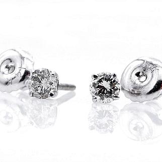 Classic 0.26ct Diamond Stud-Earrings 4 prongs 14k white gold Screw Back