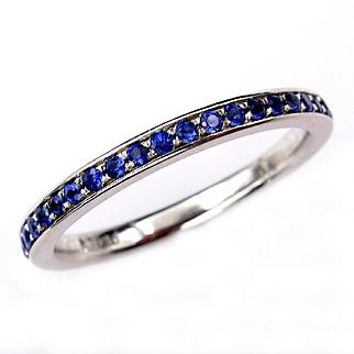 Bright Blue Round Sapphire 1/2CT Eternity Platinum RING Wedding Anniversary BAND