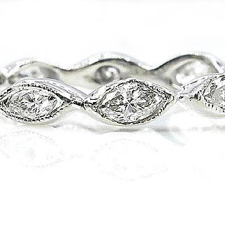 Antique Vintage Art Deco 1.20ct Marquise Diamond Eternity WEDDING ANNIVERSARY Platinum Band Ring