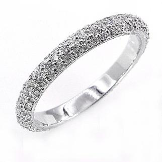 1.50ct Platinum 3 Row Pave Diamond Full Eternity WEDDING ANNIVERSARY Band Ring