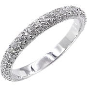 1.50ct Platinum 3 Row Pave Diamond Full Eternity WEDDING ANNIVERSARY Band Ring