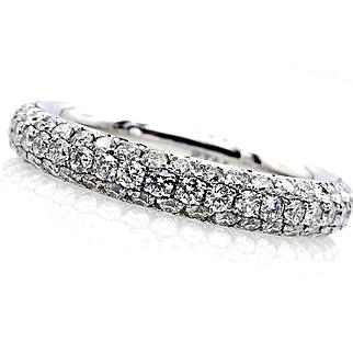 1.75ct Platinum 3 Row Pave Diamond Full Eternity WEDDING ANNIVERSARY Band Ring