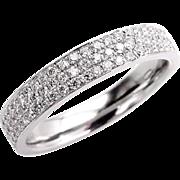 1.00ct Pave Diamond 1/2 Way WEDDING ANNIVERSARY 18K White Gold Band, Henri Daussi