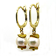 Estate Vintage 18k Yellow Gold Vermeil Cultured Pearl 8mm Drop Dangling Hanging Earrings
