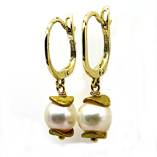 Estate Vintage 18k Yellow Gold Vermeil Cultured Pearl 8mm Drop Dangling Hanging Earrings