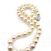 Classic Estate Vintage Cultured Japanese PEARL 9mm White Strand NECKLACE 14k Gold